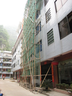 Baugerüst aus Bambus in China